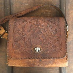 Handbags - Vintage tooled brown leather purse